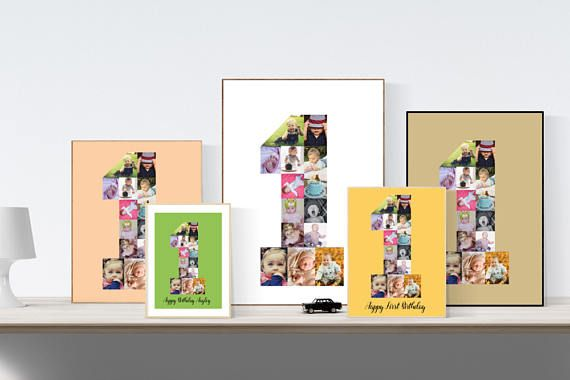 ◆Number 1 Photo collage, Baby first birthday gift, Custom anniversary collage, PRINTABLE number one◆  This beautiful photo collage in number 1 is custom made for you. Perfect for a birthday gift or a first anniversary. Filled with pictures you like. The collage is made by me, it