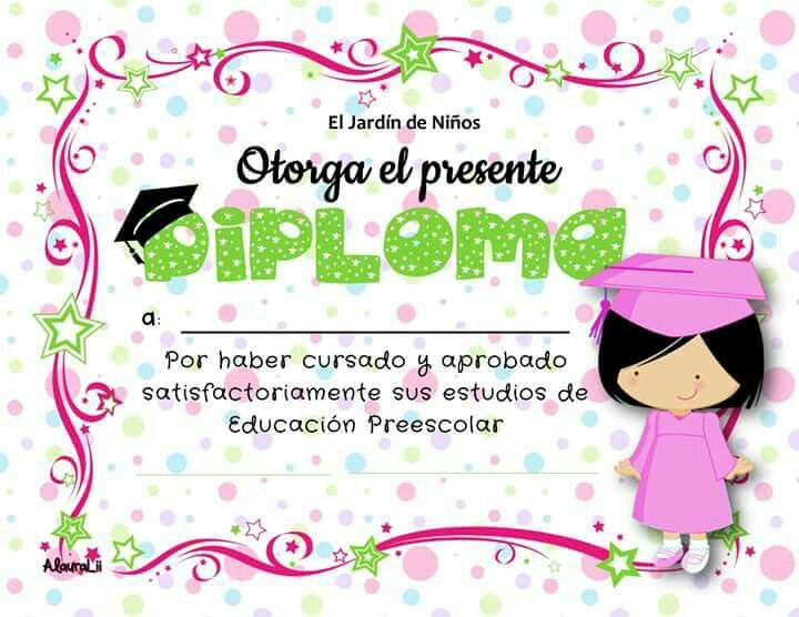 diploma para niña