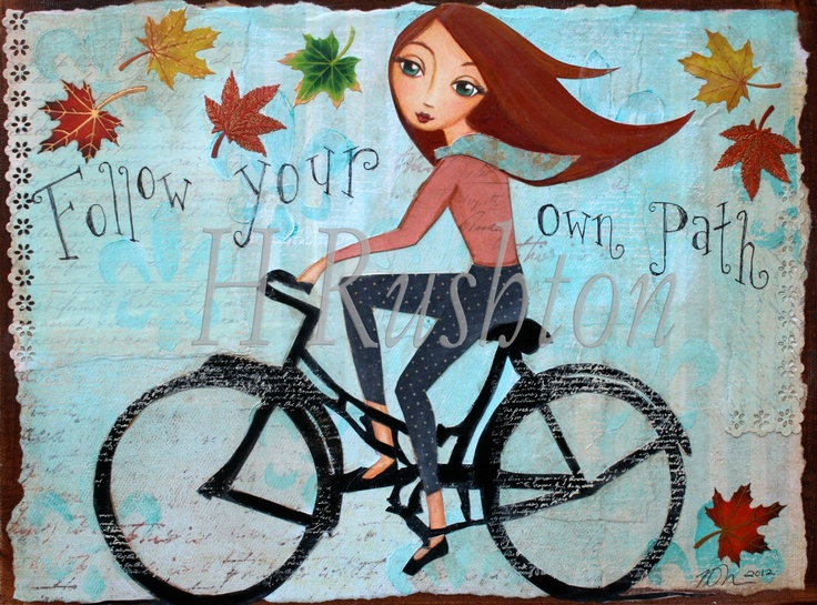 Bike Bicycle Art, Wall Art, Home Decor,Inspirational Quote, Mixed Media Art  Collage. $18.00, via Etsy.
