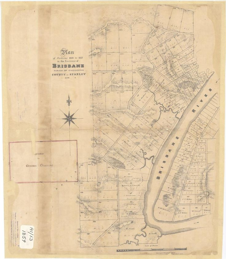 Plan of Portions 203 to 257 in the Environs of Brisbane, Parish of Enoggera, County of Stanley, New South Wales', 1859. (Queensland State Archives Item ID620656)