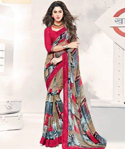 Buy Red Georgette Printed Saree 77708 with blouse online at lowest price from vast collection of sarees at Indianclothstore.com.