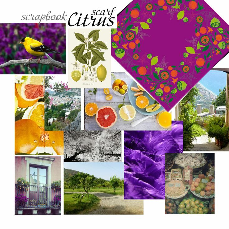 Irida CITRUS scarf scrapbook. Inspired by Sicily and juicy colors of nature.
