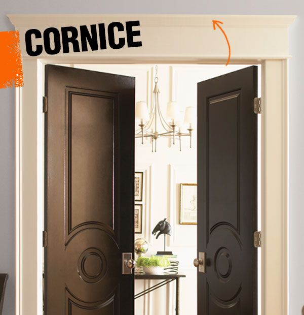 A cornice is a horizontal piece of moulding that tops an architectural element, most commonly a door, window, or column.
