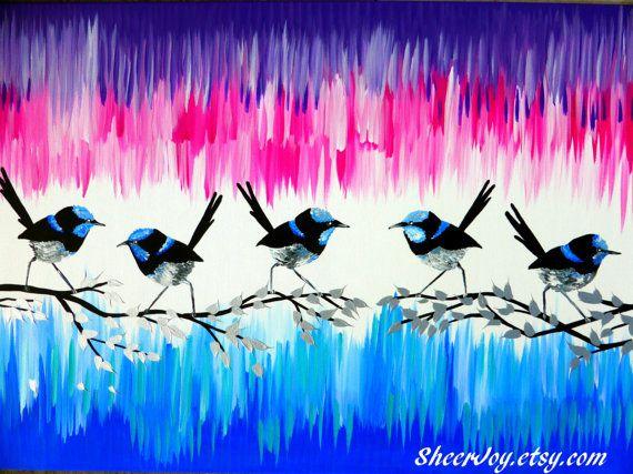 pink and blue painting pink and blue paintings by SheerJoy on Etsy