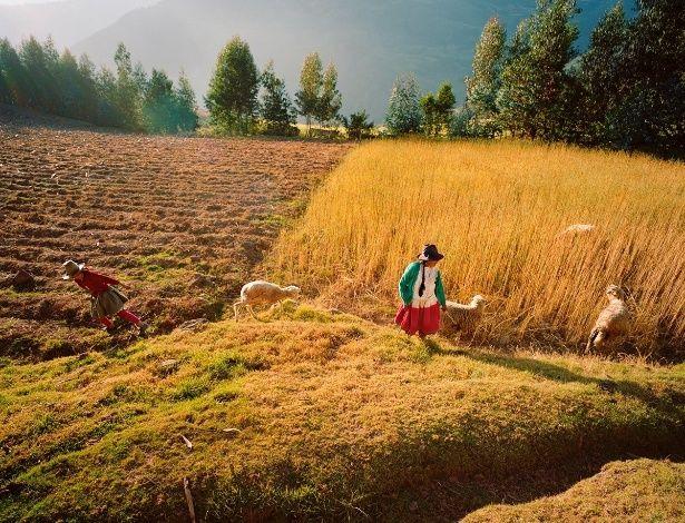 Camponeses ganham a vida nos campos de trigo da cordilheira Branca (parte da cordilheira dos Andes), uma das que mais concentra picos no Ocidente.  Fotografia: Diane Cook & Len Jenshel / National Geographic Creative.