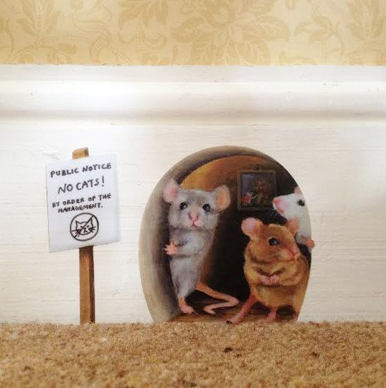 No Cats Scaredy Mice Mousehole Wall Sticker by StickersfromLola