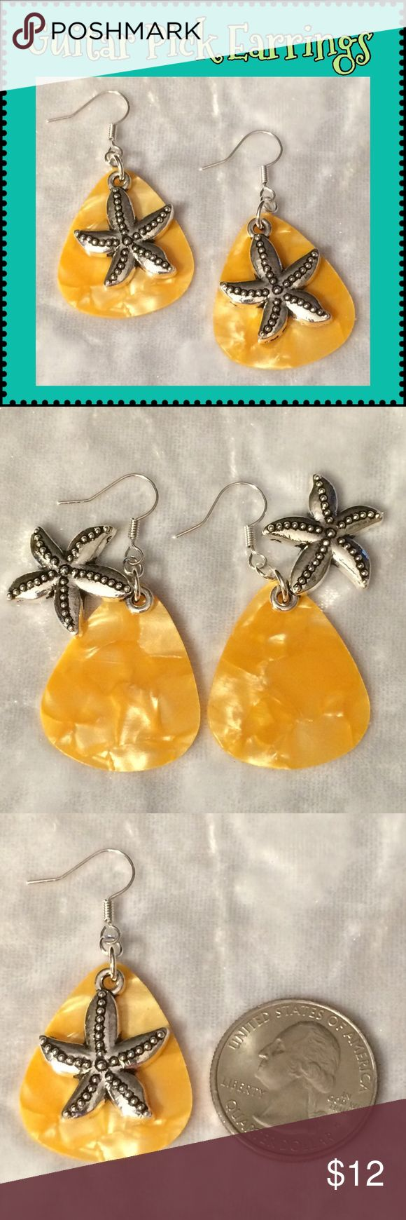 Tangerine Pearlescent Guitar Pick Starfish Earring