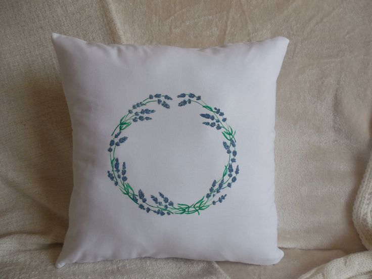 White pillow,with painted lavender wreath