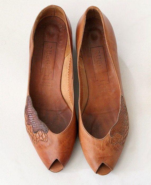 anni 1970 in pelle peep toe scarpe basse scarpe /70s vintage