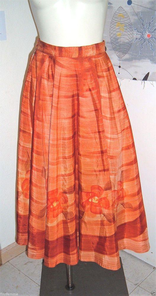 VTG 50s FULL CIRCLE SKIRT Orange Flower Novelty Border Print Silky Rayon VLV  #Handmade #Party