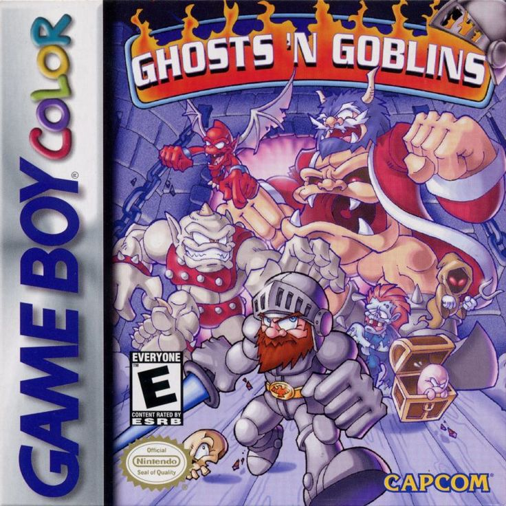Adorable cover for 1999 Game Boy Color version of Ghosts 'N Goblins