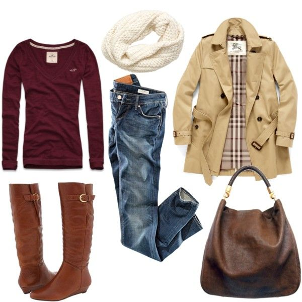Fall outfit - boots, trench coat, jeans, maroon v-neck, scarf.: Fall Clothing, Fall Casual, Dreams Closet, Casual Fall, Fall Wins, Fall Looks, Fall Outfits, Fall Fashion, Trench Coats