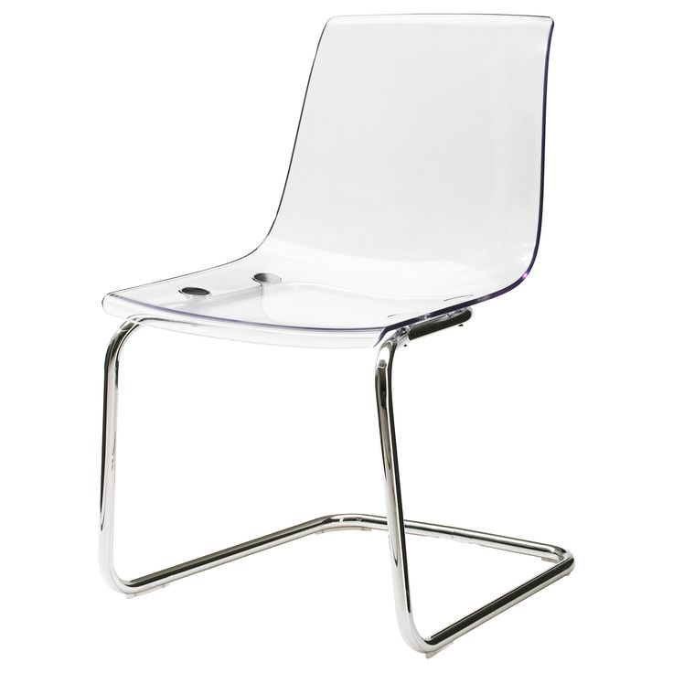 TOBIAS Chair - transparent/chrome plated - another transparent chair, this one from IKEA. I've sat in it so I know it's comfortable. ($99 CAD)