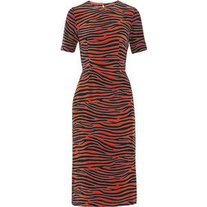 House of Holland - Zebra-print Silk Crepe De Chine Midi Dress