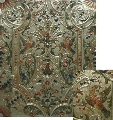 Gilt leather 'Marot' polychrome version with details, creation Lutson