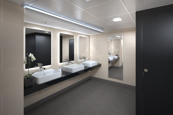 commercial bathroom ideas | Commercial bathroom (lights in drop ceiling)