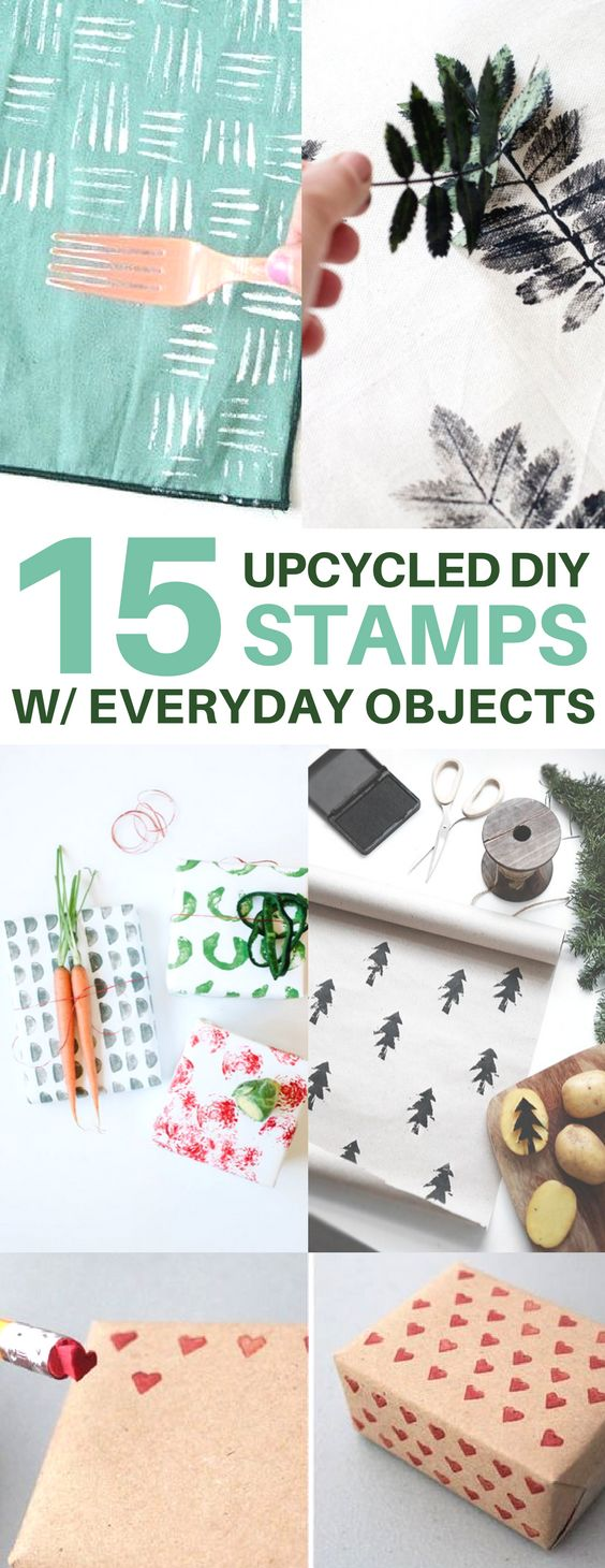 Brilliant ways to repurpose & upcycle everyday objects into DIY stamps! Create diy gift wrap, diy pillows, napkins, and more.