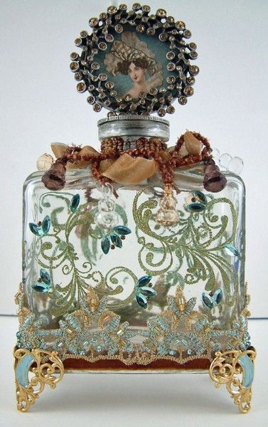 Detailed hand painted Vintage perfume bottle