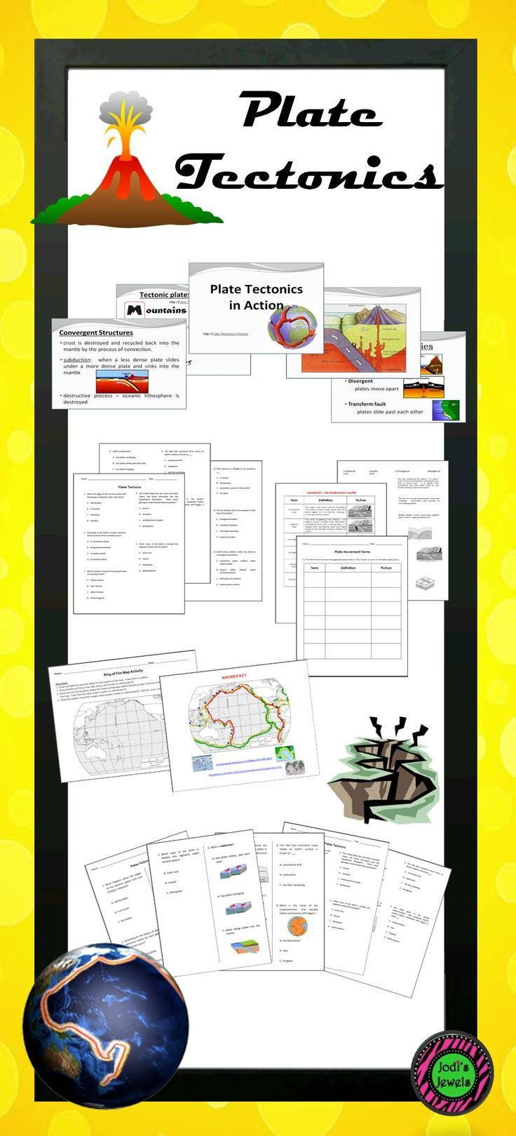 Plate Tectonic Lesson Activities Including Maps Quizzes Tests Workshee Elementary Science Activities Elementary School Science Middle School Science Teacher
