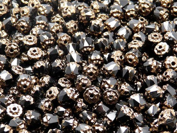 50pcs Czech Fire-Polished Faceted Glass Bols Cathedral Beads Round 5mm Jet Bronze Luster