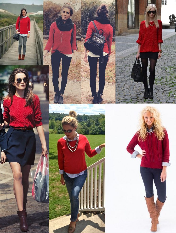 what to wear with red sweater