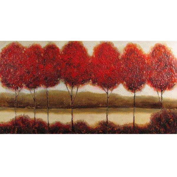 Tableau arbres rouges, peint à la main à l'huile lustré 30x60''