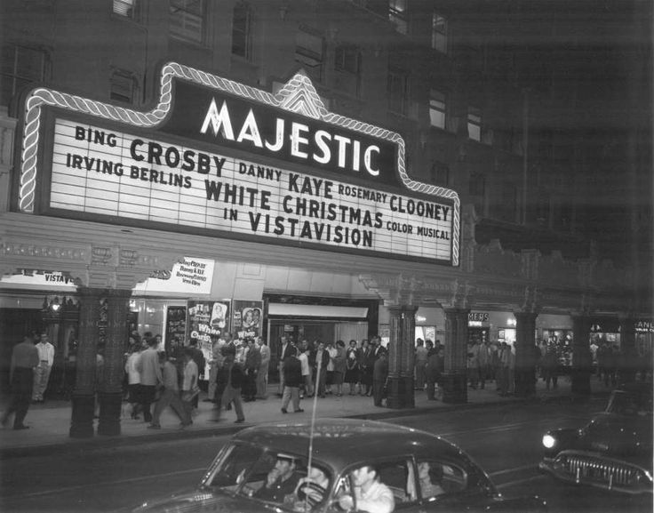 "Majestic Theatre - San Antonio, TX - showing ""White Christmas"" with Bing Crosby, Danny Kaye & Rosemary Clooney - 1954."