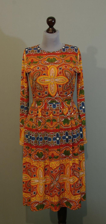Оранжевое платье с мозаичным принтом, широкая юбка, Украина купить интернет (202)