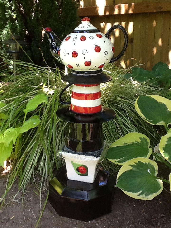 Ladybug Teapot Garden Totem.