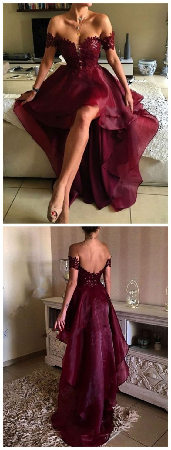 Burgundy Hi-Lo Prom Dress Lace Off-the-Shoulder Short Sleeves Lace Sexy Ruffles Party Gowns from Yaydressy