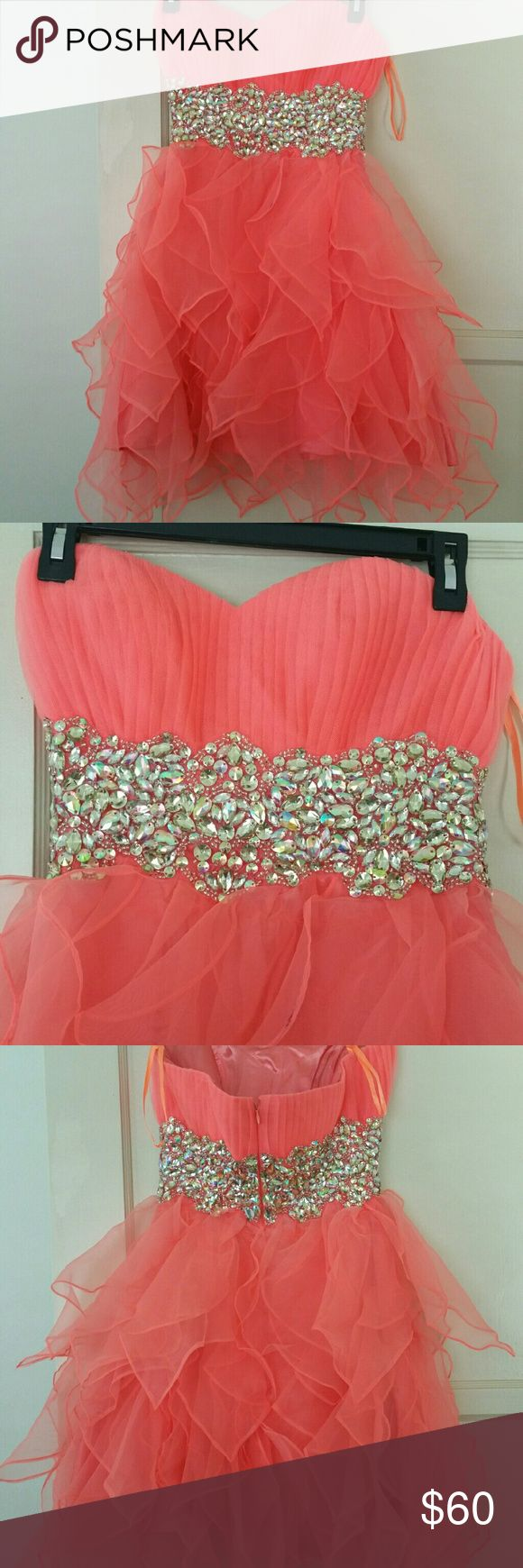 Formal Short coral dress - size S Strapless with embellishment which is all in place. Worn once to a wedding Dresses Prom