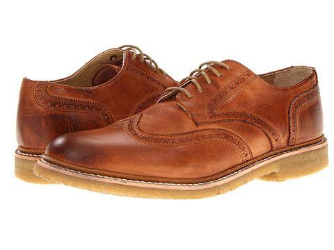 Frye James Crepe Wingtip Cognac Soft Vintage Leather (men's shoes brown)