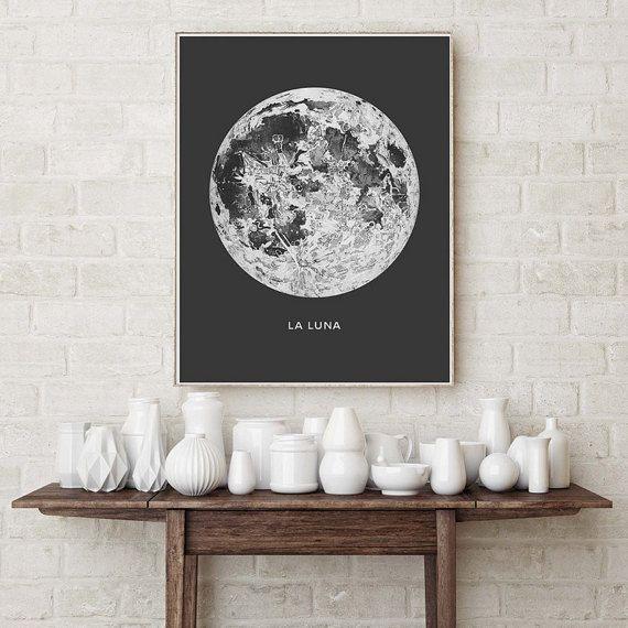 Affiche de la pleine lune. La Luna Moon. Impression de lune lunaire. Vintage décoration murale Luna. Art du système solaire. Art de chambre dortoir céleste. Indie Space Art. Affiche de Bohème. Planètes et lunes impression. ................................................................................................................... TAILLE : Utiliser dans le menu déroulant sur la droite pour choisir un format affiche…