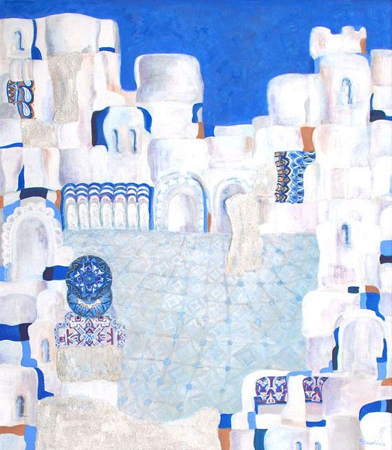 Large abstract print white blue giclee print on by MarilionFineArt