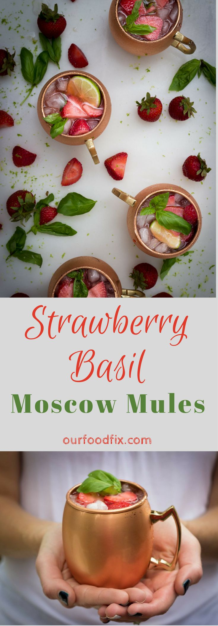 Moscow Mule | Cocktail recipes | Summer drinks | Summer beverages | Party drinks | Independence Day | BBQ drinks | Pitcher drinks | Vodka drinks | Strawberry recipes | Strawberry Basil