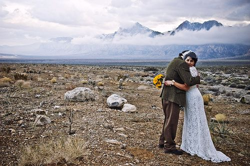 Mountains and clouds make such a stunning background for a wedding portrait! Image by J.K. Califf (CC-BY-SA).