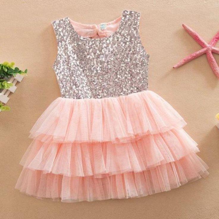 Bonito cortado lantejoulas em camadas Tutu Kids Party Dress  – Party Dresses