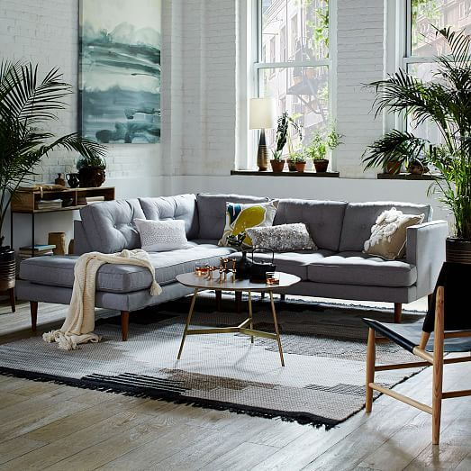 Peggy Mid-Century Set 2: Left Arm Terminal Chaise + Right Arm Sofa, Heathered Crosshatch, Feather Gray