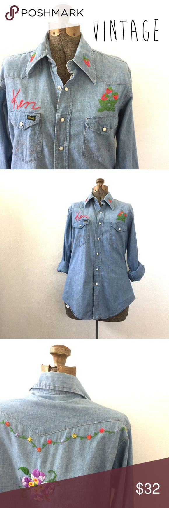 """Vintage Embroidered Wrangler Denim Shirt Amazing vintage hand embroidered Wrangler denim shirt from the 1960s/1970s. Made in USA. Marked size 36MW. Fits like a size small ladies. Pearlized buttons. Apx 29"""" shoulder to hem. Apx 21"""" armpit to armpit. ✌️ Vintage Tops Button Down Shirts"""