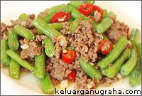 buncis, daging cincang, ground beef, pork, sayur, indonesia, main dish, sapi, babi, green bean