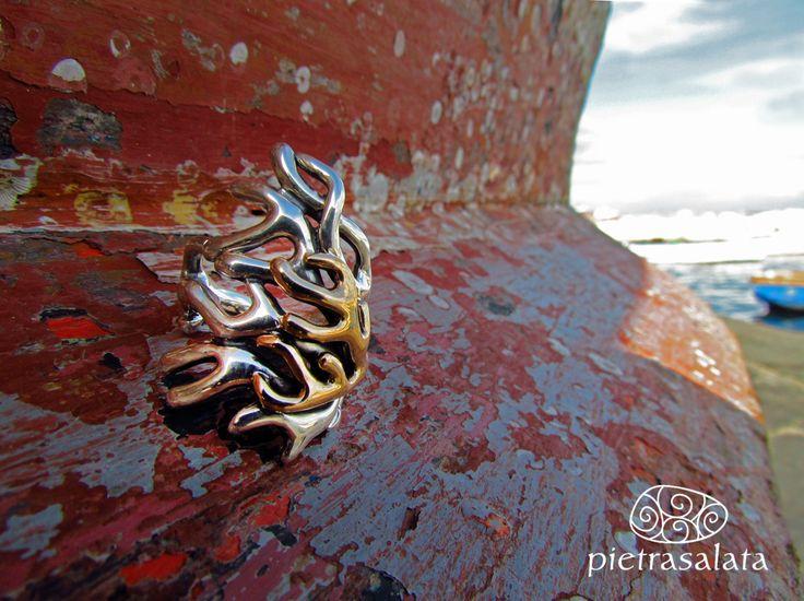Anello Ramo Corallo, ring Ramo Corallo argento e bronzo #pietrasalata #silver #ring