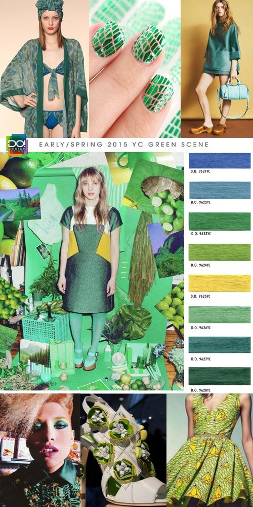 "Spring / Summer 2015, Women's Contemporary Color Trends by Design Options. ""Green Scene""  Jade and malachite shades of earthy environment and precious gem accentuate mercerized geometric shapes. Structured and tailored elements exude a lush and lavish appearance on a backdrop of emerald saturations. Yellow and sky blue hues of unrefined landscape and vivid viridian mingle graciously with an unrelenting sense of abandonment."
