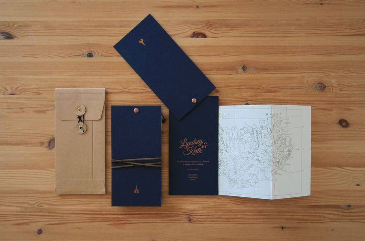 Lyndsey and Keith Wedding Invitations. Map book. Copper foil on navy Colorplan. Warm Grey Letterpress on Cotton Saunders Stock. #stationery #weddinginvitations