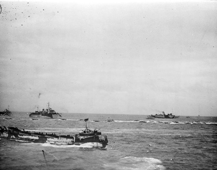 Landing craft and other ships seen from the destroyer HMS Beagle, 6th June