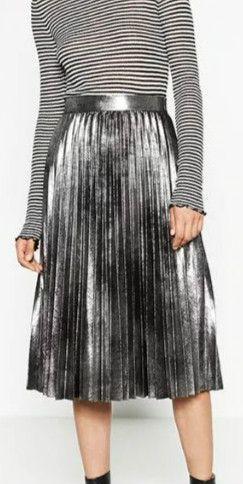 Texture Zip Side Pleated High Waist Long Skirt
