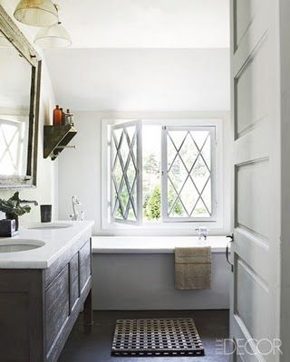 beautiful windows: Tubs, Elle Decor, Vanities, Beautiful Bathroom, Window Panes, Bathroom Ideas, Master Bath, Guest Bath, Bathroom Window