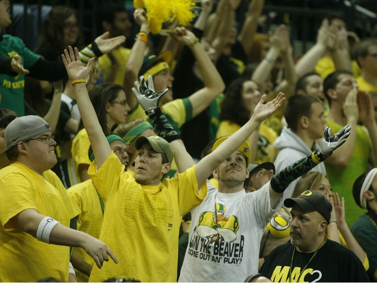 Duck fans at the men's basketball Civil War victory over Oregon State during the 2010-2011 season on February 19, 2011. Final score: 82-63 at Matthew Knight Arena.