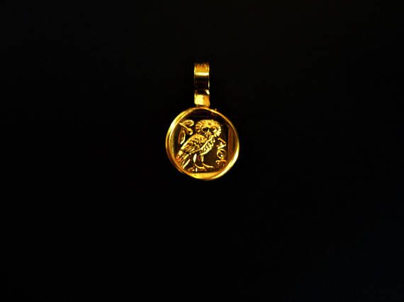 Ancient Greek Coin Pendant. Copy of Authentic. 18K Gold plated