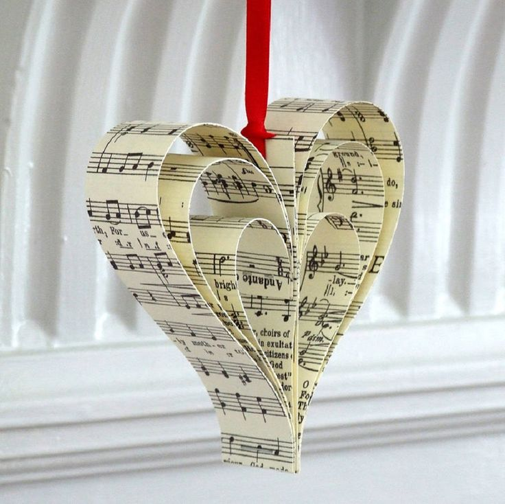 Remade Handmade Sheet Music Christmas Decorations