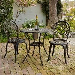 christopher knight home angeles cast aluminum outdoor bistro furniture set with ice bucket paired with some cute cushions this would be perfect for our